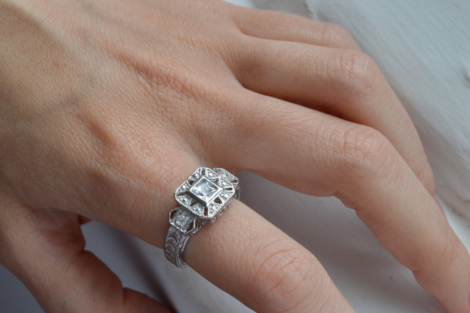 Silver Art Deco Ring Antique Filigree Ring Princess Cut