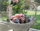 Wedding Basket, Wedding Centerpiece, Shower Centerpiece, Homco Butterflies, Floral Basket - by FairyLace Designs