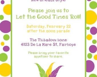Polka Dot Mardi Gras Invitation