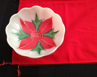 Hand Painted Red Flower Milk Glass Bowl, Poinsettia Christmas Candy Dish, Milk Glass Pedestal Bowl, Footed Bowl, Poinsettia Candy Dish