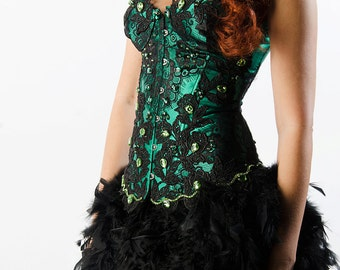 Custom Lace Crystal Green Corset Feather Dress