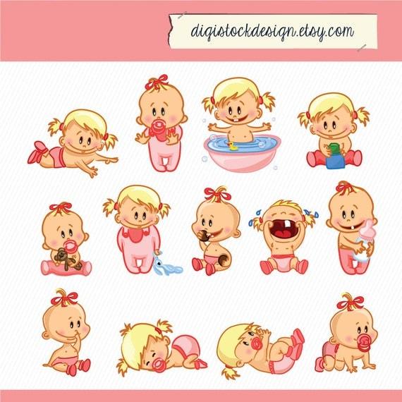 Bébé fille clipart. Bébé enfant Illustration. Clipart numérique. 13 Les fichiers haute résolution des PNG 029