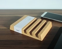 Wooden Multi Device Charging Station for iPhone, iPad & Ebook Readers – 3 Slots in Beech Wood