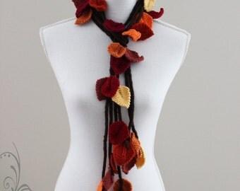 OOAK Autumn Scarf. Knit  leaves, Beautiful Colours, Very Unique.