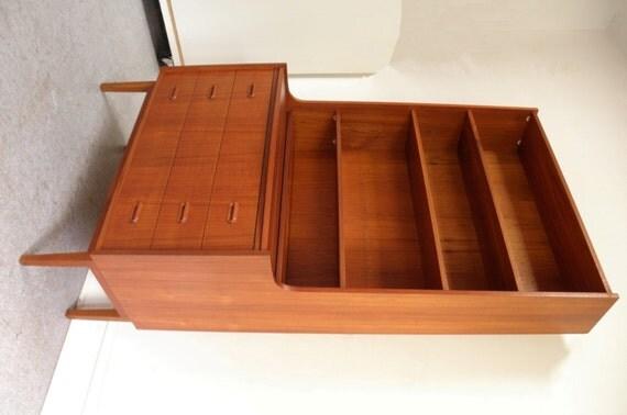 Mid Century Danish Modern Teak Desk Bookcase Chest Of Drawers