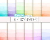 "Dip dye digital paper: ""DIP DYE PAPER"" with rainbow gradient watercolor patterns going gradually from white to pastel to bright dyed colors"