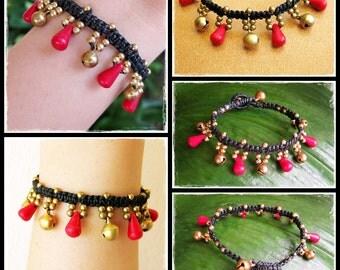 Red Coral Bead Bracelet with brass beads, Adjustable Size, Wax String Bracelet Handmade Jewelry.  JB1051-RE