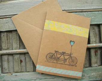 Tandem Bicycle Thank You Cards, Kraft Bicycle Note Cards, Handmade Blank Note Cards, Wedding Thank You Cards, Set of 5