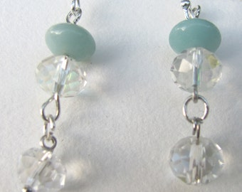 Celadon and Swarovski Crystal Dangles