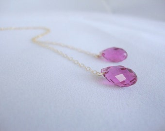 Fuschia Swarovski Crystal Gold-Filled Lariat Necklace - Handmade Jewelry - Bridesmaid Necklace - Minimalist Jewelry - Gold Lariat Necklace