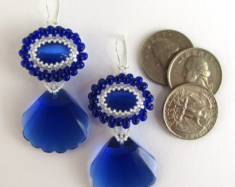 Handmade Cobalt Blue and White Beaded Earrings with Fans