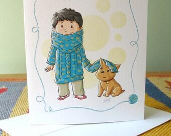 Boy in Big Sweater note card with envelope / blank inside / cute boy bulldog heart / art by Kathe Keough