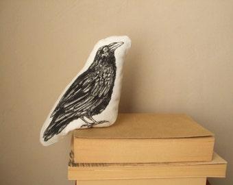 black crow cuddly plush crow stuffed raven soft sculpure bird stuffed realistic hand painted animal fantasy woodland gothic decor