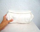 White Real Leather Cosmetic Pouch, Toiletry Purse, Two-way Organizer, Make up Leather Bag, Clutch Wallet, Minimalist Travel Bag, Foldable