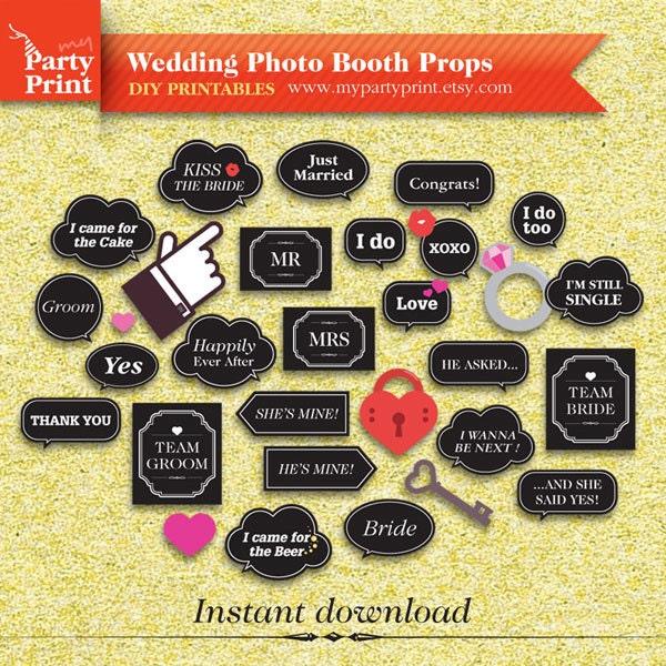 Wedding Photobooth Props Chalkboard Sign Speech Bubble