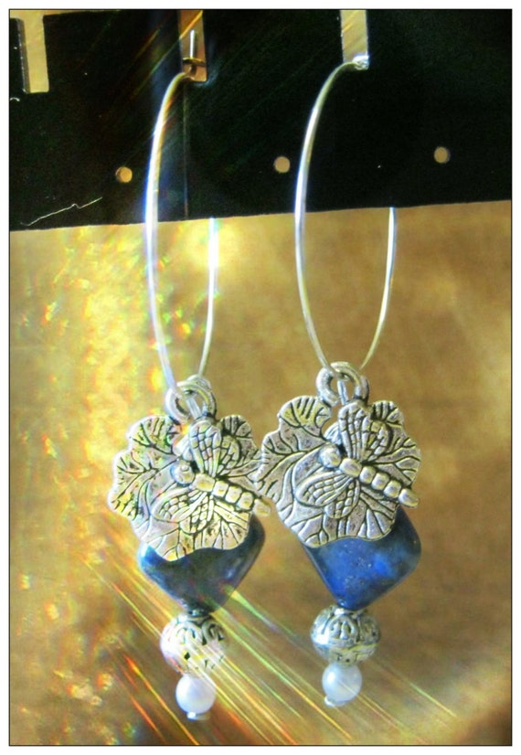 Handmade Silver Earrings with Lapis Lazuli, Pearl & Dragonfly by IreneDesign2011