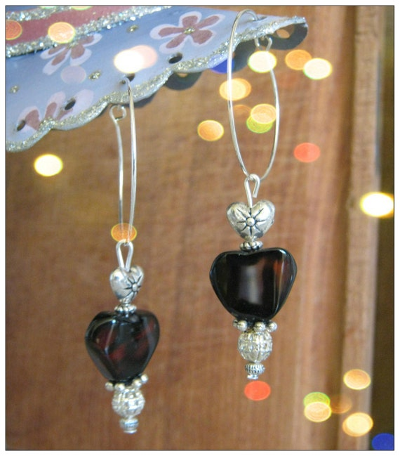 Handmade Silver Earrings with Mahogany Obsidian Heart by IreneDesign2011