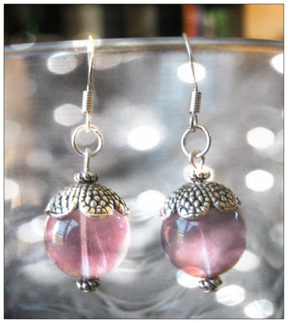 Handmade Silver Hook Earrings with Violet Fluorite by IreneDesign2011