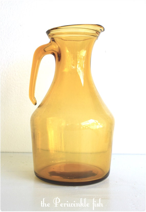 Vintage Italian Amber Glass Pitcher