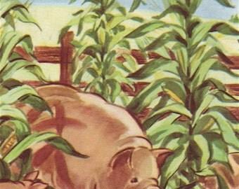 Farm Animal Vintage Children's Book Print
