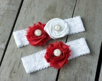 Red and White Wedding Garter Set, Bridal Garter, Wedding Garter, Shabby Chic Garter, Satin Garter