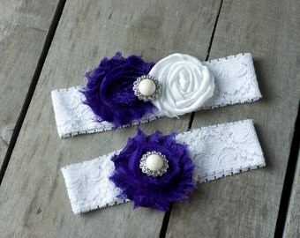 Purple and White Wedding Garter Set, Bridal Garter, Wedding Garter, Shabby Chic Garter, Satin Garter