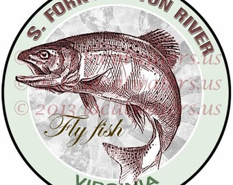 South Fork Holston River Fly Fish Virginia Sticker Guaranteed not to fade for 3 years