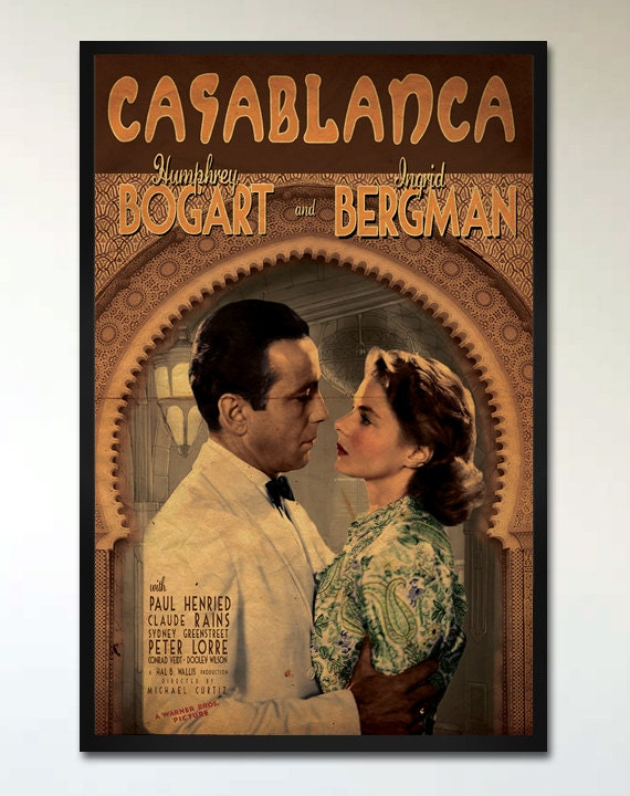 Casablanca - Retro Movie Poster - 1930's Vintage Romantic ...