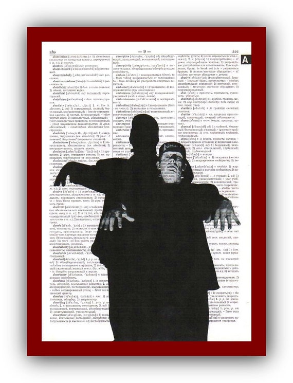 Frankenstein's Monster Art Print Horror Poster : upcycled  dictionary pages  Art Print Wall Decor