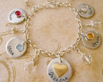 Custom Hand Stamped Personalized Mother/Grandmother Charm Bracelet