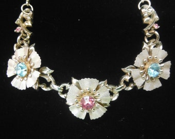 Rhinestone Flower Necklace, Vintage 1960's