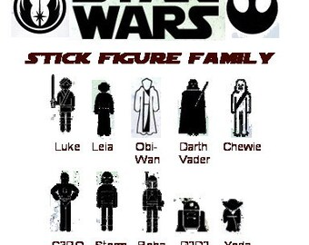 Custom Vinyl Decal Star Wars Stick Figure Family