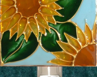 Decorative Sunflower Kitchen Night Light Plug In, Unique Art Stained Glass Sun Flower Wall Decor, Flower Night Light Floral Nightlight
