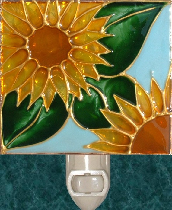 Sunflower Kitchen Night Light Plug In Unique Art Stained