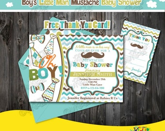 Little Man Baby Shower Invitation,Mustache Baby Shower Invitation,  Printable Mustache Baby Shower Package
