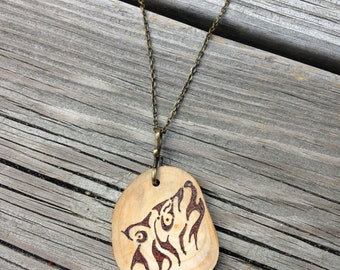 Wood Burned Wolf Necklace