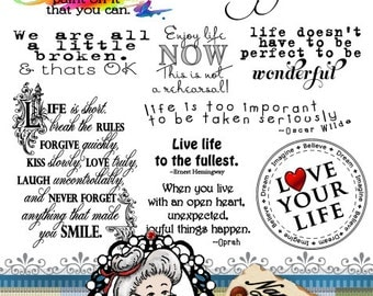 Live Life Word Art Digital Digi Stamps Sentiments, Photography Overlays, Instant Download ID:NV-WA0040 By Nana Vic