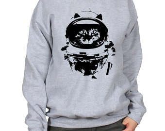 Space Cat Sweater, NASA Kitty Jumper, Astronaut Kitten Pullover, Cat in a Space Suit, Gift for Cat Lover, Crewneck Unisex Sweatshirt