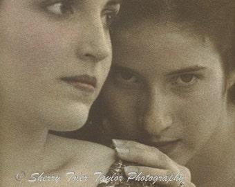 "Fine Art Photography - ""Secrets"" Portrait Photography,Fashion Photography,Girlfriends,Hush Hush,Sisters,Muses,Eyes,Whispering,9x12,11x14"