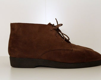 Vintage Karen Scott Chukka Ankle Boots Brown Suede Leather | Booties | Womens Size 8.5 M
