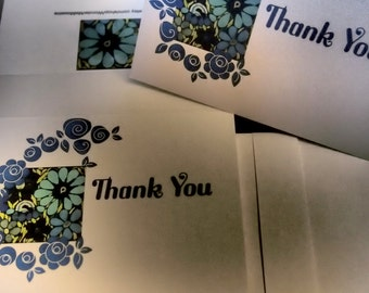 25% SALE  Thank You Card Set - Cascading Blue Flowers (Blank Inside)