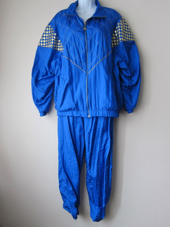 80s Women's Windbreaker Jacket Pants Set Royal Blue &