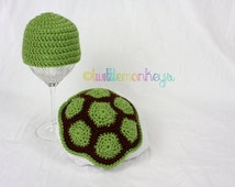 Newborn Crochet Turtle Cape/Hat Set - Newborn, Infant, Boy/Girl, Photo Prop, Made to Order