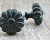 Scalloped Metal Knobs- Fall Decor- Gifts For Her- Industrial Inspired-Shabby Chic-Ebony Black-Autumn Fall Home Accents-Furniture Hardware