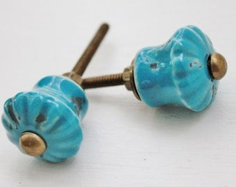 Distressed Turqouise Drawer Pulls-Hobo Inspired-Gifts-Home Accents-Decorative Knobs-Aqua Pulls