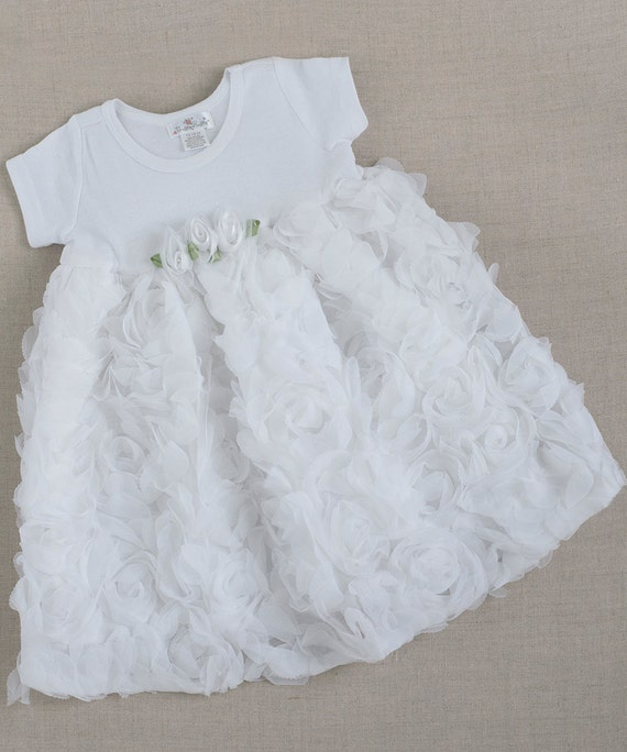 Baby Dress Chiffon Rose White
