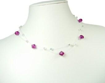 ANY COLOUR Crystal Illusion Bridal Necklace, Crystal Bridesmaid Necklace, Illusion Necklace, Floating Necklace, Wedding Necklace, Swarovski