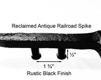 "1 3/4"" Right Black Railroad Spike Cupboard Handle Dresser Drawer Pull Cabinet Knob Antique Vintage Old Rustic Re-purposed House Restoration"