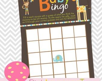 Animal Baby BINGO, Safari Animal Baby Shower Game, INSTANT DOWNLOAD, Animal theme, monkey, giraffe,elephant