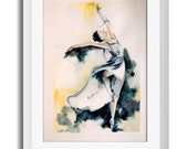 Ballerina Original Watercolor Painting, Dance Watercolor Wall Art, Green Yellow, Figurative Woman Art - CanotStop